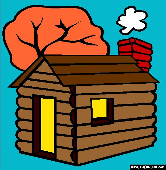 lincolns log cabin coloring page
