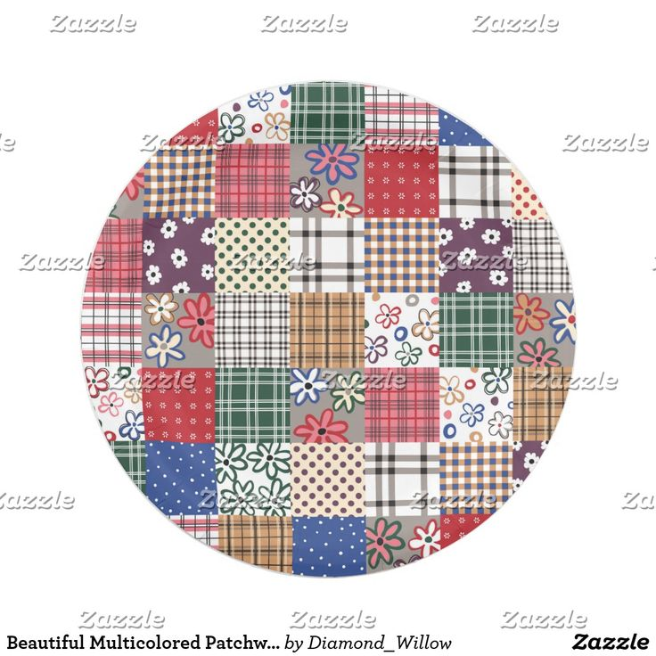 Beautiful Multicolored Patchwork Quilt Pattern Paper Plate