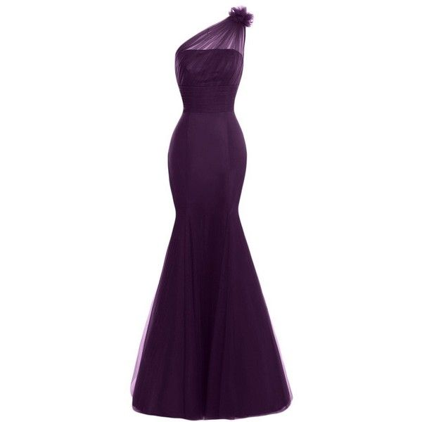 Gorgeous Bridal Mermaid One Shoulder Tulle Charmeuse Formal Gown... ($114) ❤ liked on Polyvore featuring dresses, formal cocktail dresses, bridal cocktail dresses, brides dresses, formal wear dresses and purple one shoulder dress