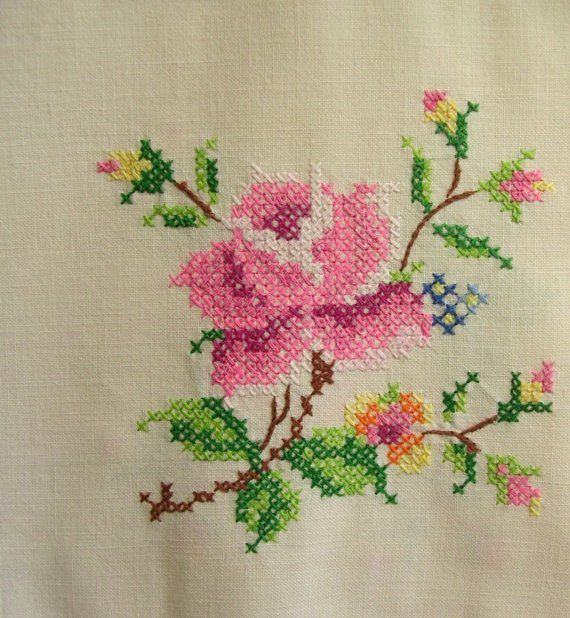 Very pretty english roses, cross-stitched onto a light weight linen. What else would you eat scones from on a summers day? Perfect!    Very good