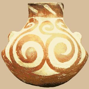 From Hacilar in Western Turkey. A small globular pot with a neck and two small lugs. The dark red-brown slip painting and especially the double spiral may represent a human female figure. The spiral symbol is often associated with the breast, milk and drink.