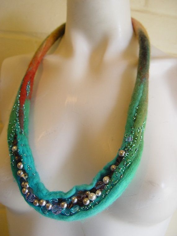 Turquoise Hand felted necklace embellished от InnovativeArtWear