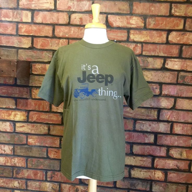 """Jeep Wranger T Shirt M Medium Oliver Green """"It's A Jeep Thing"""" Off Road Cotton   eBay"""