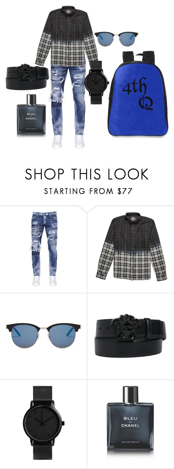 """Date Night"" by jrggroup on Polyvore featuring Dsquared2, Yves Saint Laurent, Versace, Chanel, men's fashion, menswear and DateNight"