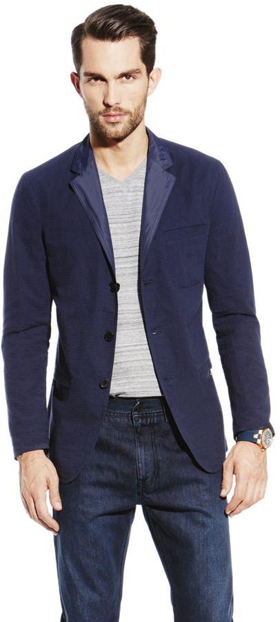 $295, Navy Blazer: Vince Camuto Reversible Seersucker Blazer. Sold by Vince Camuto. Click for more info: https://lookastic.com/men/shop_items/33224/redirect