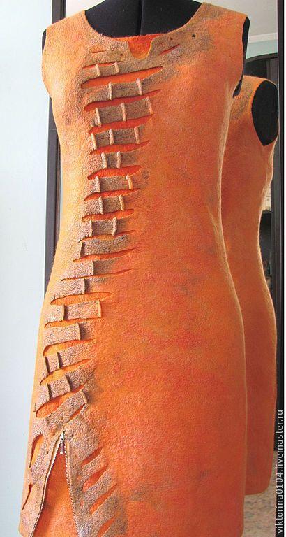 """Купить Платье """" Orange"""" - оранжевый, абстрактный, платье оранжевое, валяное платье, нуно-войлок"""