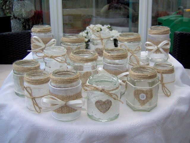 SHABBY CHIC/VINTAGE WEDDING DECORATED GLASS JAR TEA LIGHT HOLDERS/FAVOURS x 15 in Home, Furniture & DIY, Wedding Supplies, Other Wedding Supplies | eBay