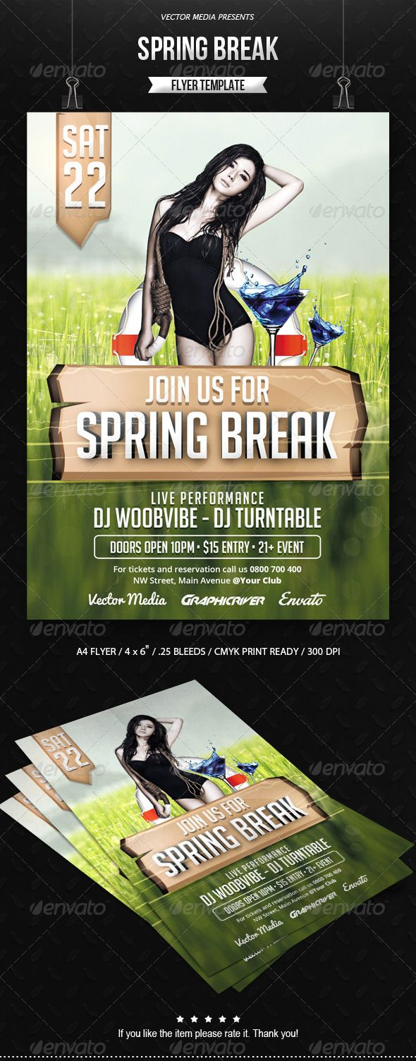 Spring Break – Flyer …  Advertising flyer, Open Air Party, a4 flyer, band, break, club, club flyer, creative poster, event, events, flyer, music, music festival, music flyer, party, party flyer, poster, print, print templates, promotion, promotional, psd, spring, spring break flyer, summer, summer flyer, template, vector media, vectormedia