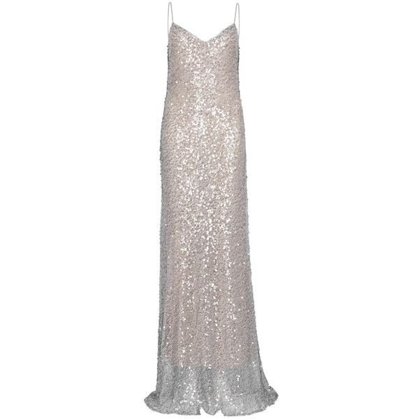 Galvan Estrella Sequinned Gown ($1,365) ❤ liked on Polyvore featuring dresses, gowns, white color dress, sequin embellished dress, white sequin dresses, white dress and sequined dress