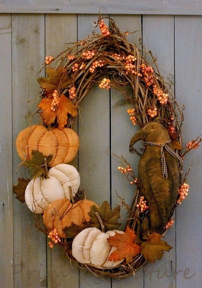 Primitive Wreath Pumpkin and Crow Doll Orange and White Pumpkins Folk Art Prim #NaivePrimitive #PrimbyNature