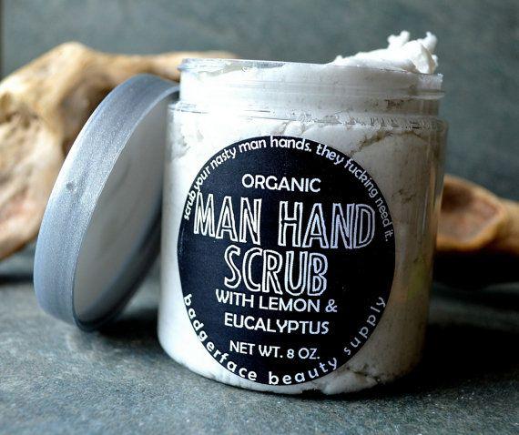 Organic hand scrub for men, made with pumice, sodium bicarbonate, organic aloe butter, organic grapeseed oil, sea salt, and organic lemon &