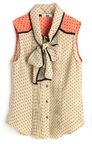 Apricot and Pink Polka Dot Lapel Sleeveless Chiffon Blouse With Bow Front