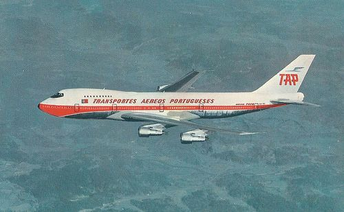 SCANNED POSTCARDS TAP AIR PORTUGAL BOEING 747