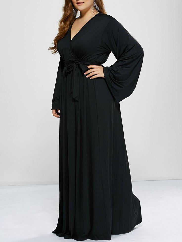 Plus Size Long Sleeve Empire Waist Modest Maxi Prom Dress - BLACK 2XL