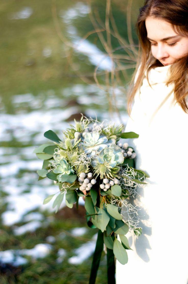 mint wedding bouquet with succulent, winter bouquet