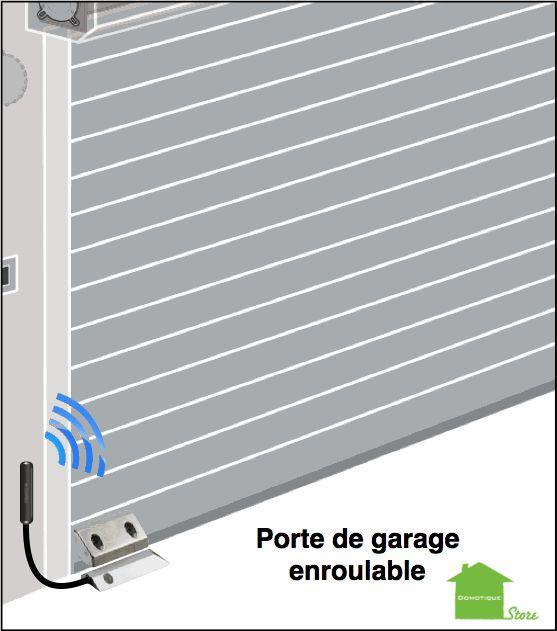 positionnement du capteur sur une porte de garage à enroulement