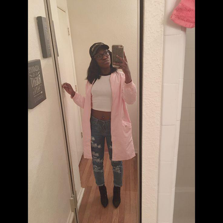 Pink Varsity Striped Sleeve Zip Up Bomber Coat