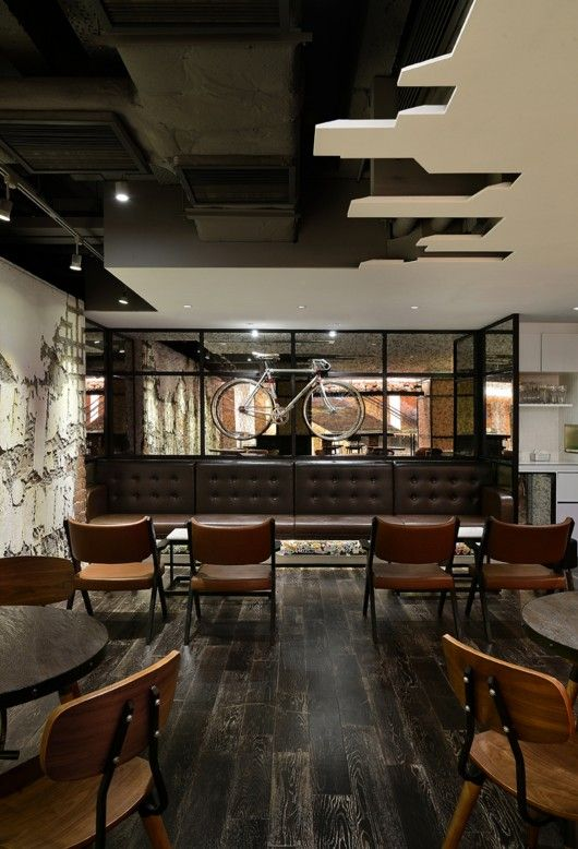 "design | bars, restaurants,  cafés - urban / joey ho design. OMG... THIS would be AWESOME - making a city ""skyline"" - or somehow making a silhouette out of the work Coca Cola & attaching it to the soffit & putting rope lighting on top of it!!  Also could do that over the bar area & make a hanging Coke light out of old Coke bottles!!"