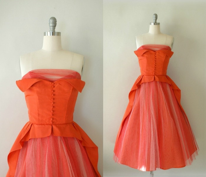 Vintage 1950s Coral Orange Formal Dress - 50s Taffeta and Tulle Party Gown. $138.00, via Etsy.