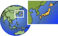 Japan time zone location map borders