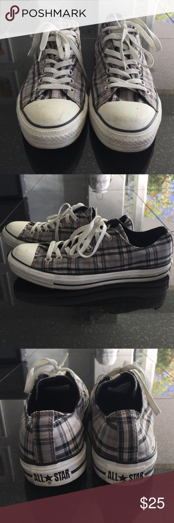 Converse shoes Men's All Star Converse. Women's size 11 or Men's size 9. Grey, black, Orange and white plaid. Converse Shoes Sneakers