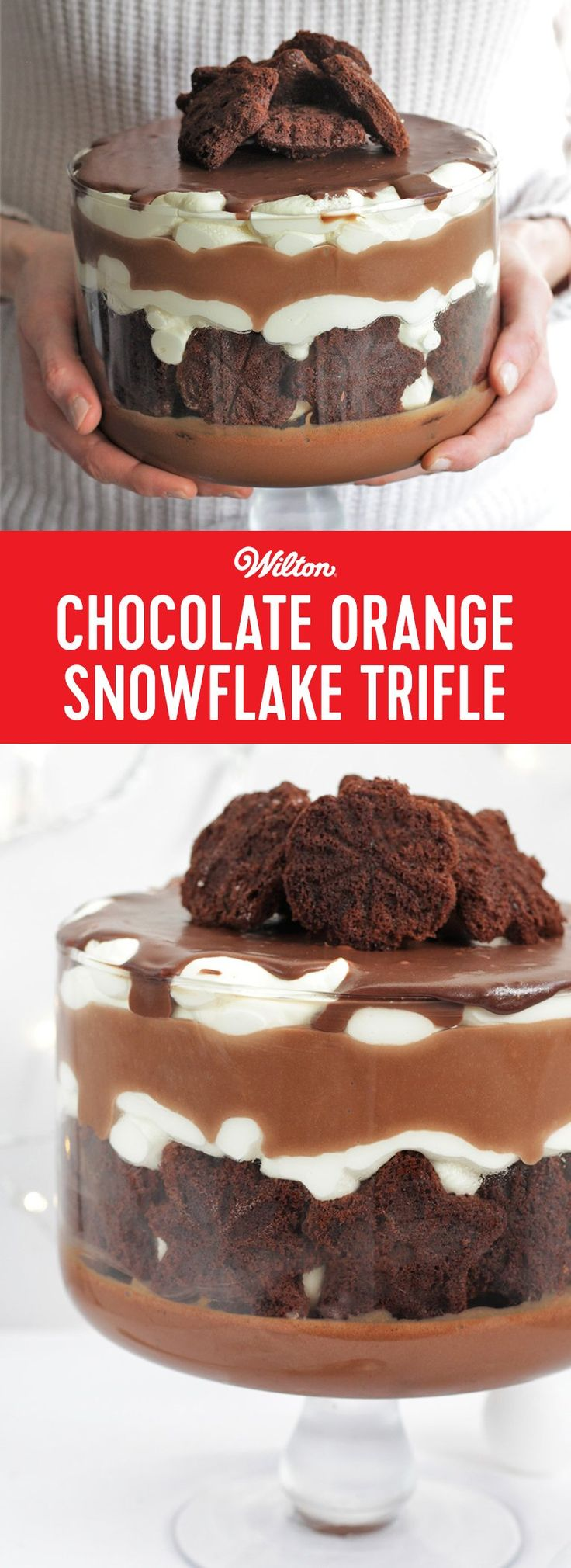 Chocolate Orange Snowflake Trifle Recipe - Two things that equal Christmas food are trifle and Chocolate Oranges. Why not combine the two in a decadent trifle?! If you don't fancy the orange twist, just use milk chocolate. This is super easy to make, but big on impact and everyone will love to eat it. This is an easy recipe that's great for a beginner baker. #christmas #trifles #chocolate #wiltoncakes
