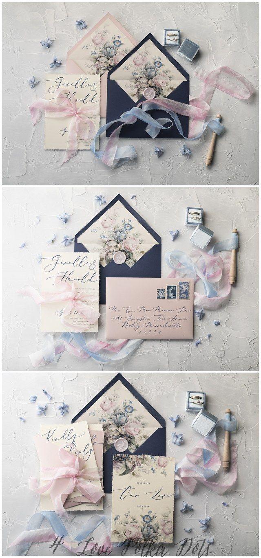 Blush navy calligraphy wedding invitations #weddings #weddingideas #weddingcards #4lovepolkadots