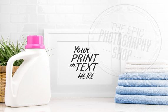 Styled Stock Photography Print Background, Blank Frame, Product Photography, Staged Photography / Blue Towels Pink Detergent Laundry / LR008