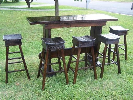 Custom Made Reclaimed Antique Oak Custom Bar And Bar Stools