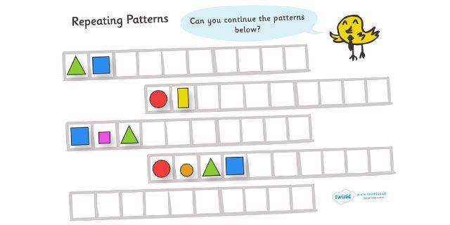 twinkl resources repeating pattern worksheets shapes. Black Bedroom Furniture Sets. Home Design Ideas