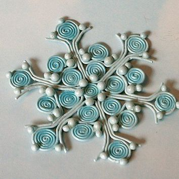 Shimmering Star Snowflake Polymer Clay Christmas Ornament