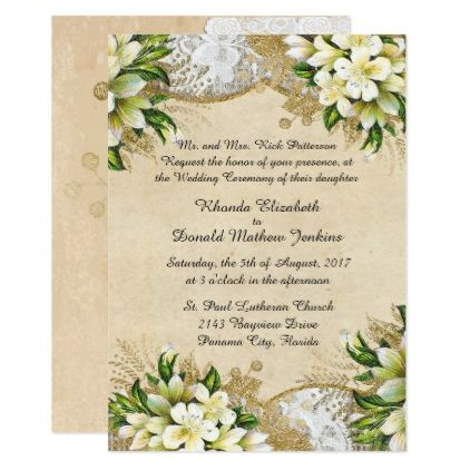 Antique Spring Wedding Invitation - spring wedding diy marriage customize personalize couple idea individuel