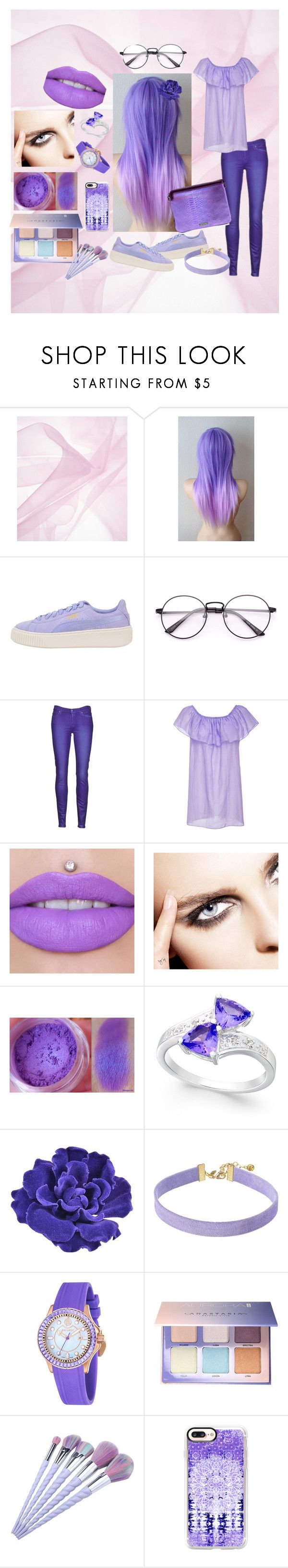 """Purple Is The New Black"" by contagious-skittles ❤ liked on Polyvore featuring Puma, 7 For All Mankind, Soler, Chanel, Vanessa Mooney, Ballast, Anastasia Beverly Hills, Casetify and Mohzy"