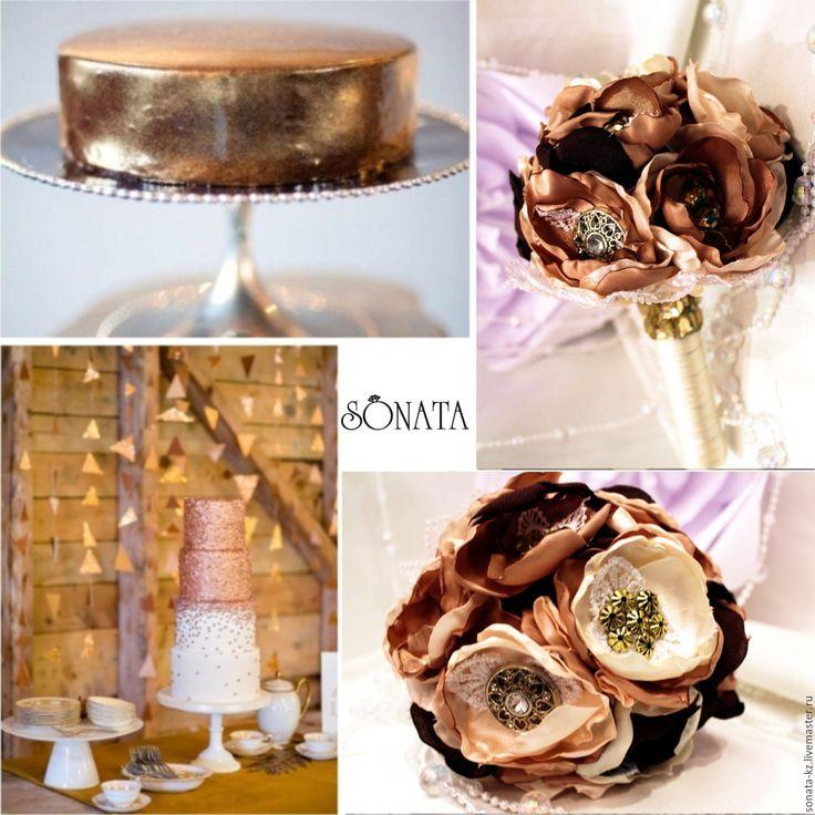 """Купить Брошь-букет невесты """"Осенний поцелуй"""" - букет невесты, букет цветов, брошь-букет"""