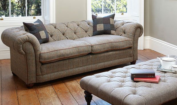 Orkney chesterfield sofa in harris tweed high quality for Leather and tweed sofa