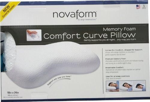 The Novaform Memory Foam Comfort Curve Pillow's unique arch design and curved shape offers therapeutic support any way you turn. The Comfort Curve Pillow is designed with premium memory foam, which relieves painful pressure points and allows for improved air circulation to help maintain an optimal sleep temperature. This premium memory foam pillow provides cradling comfort and gentle support for a truly restful night's sleep.