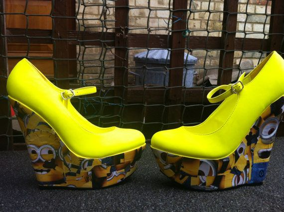 high customised despicable me minions wedges size 4
