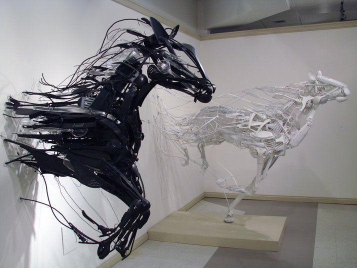Japanese sculptor Sayaka Ganz creates sculptures from reclaimed plastic and other scrap materials