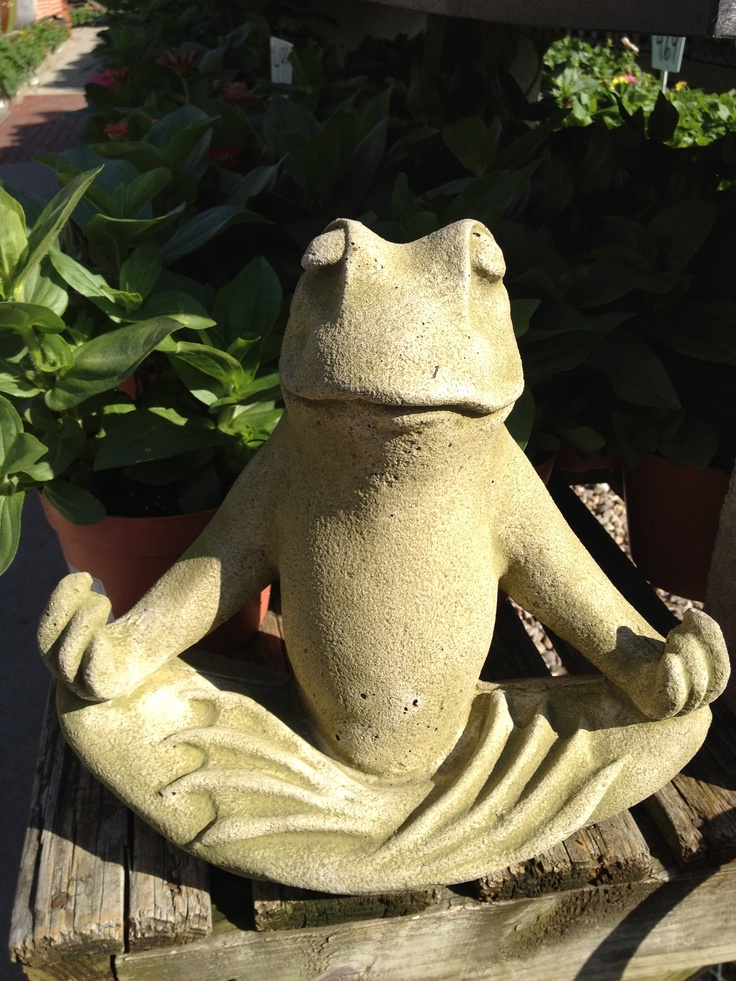 I don't know why this silly lawn sculpture hits the spot - captures the zen of sunset, frog's apparent emotional indifference, the mudra, yoga pose...I like it.