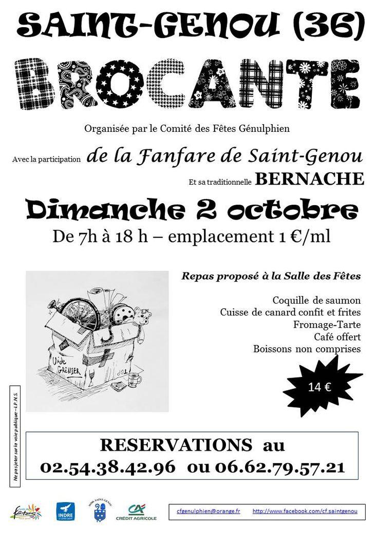 Brocante de Saint-Genou Saint-Genou Centre bourg Dimanche 2 Octobre 2016, 7h00 > 18h00