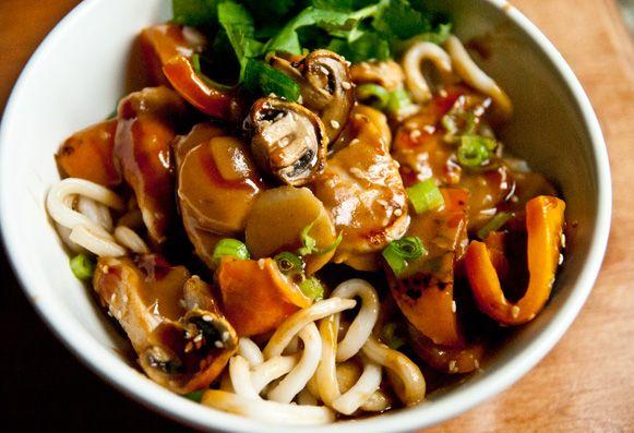 Obsessions Gourmandes Recette Poulet aux arachides et nouilles Udon, pour me faire pardonner