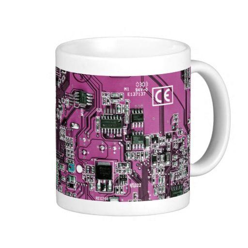 Computer Geek Circuit Board - pink purple Coffee Mugs #Computer #Geek #CircuitBoard #CoffeeMugs