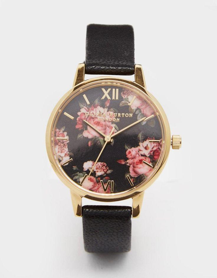 Olivia+Burton+Winter+Garden+Black+Leather+Watch