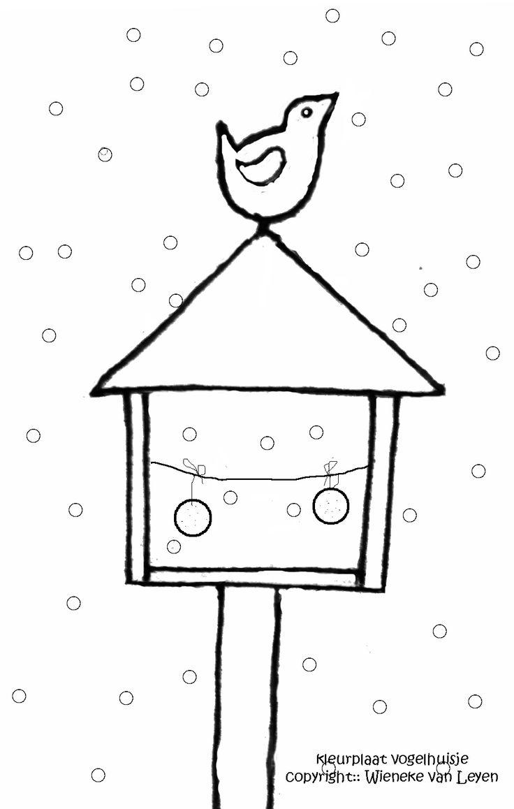 Kleurplaat Sneeuwpop Kerst Kleurplaat Vogelhuisje Www Dewereldvanwiepje Winter