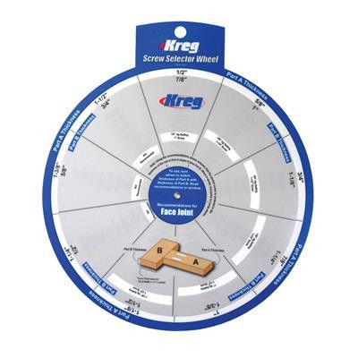 The Screw Selector Wheel makes it easier than ever to build projects with Kreg Joinery™. Just dial in the thickness of each piece to be joined—whether those thicknesses are the same or different—and t
