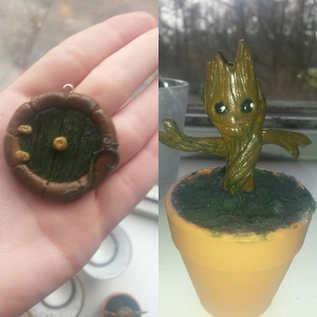 Groot en een Hobbit deur. Made with fimo polymerclay. Follow me on instagram Justsomecrafts to see more