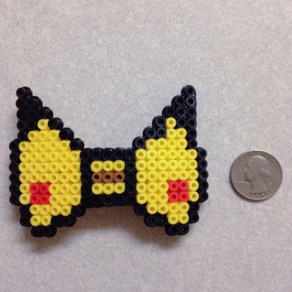 Pokemon   Pikachu Perler Bead Kandi 8 Bit Hair Bow