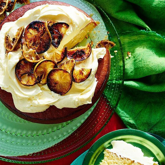 Dense, tart & lathered in decadent white chocolate, this flourless slice has a caramelised finish! @phoeberosewood @brettstevensphoto #glutenfree #cakeideas #coeliacfriendly #CoeliacAwarenessWeek #easydessert | sbs.com.au/food/recipes/flourless-lime-and-almond-cake-caramelised-limes
