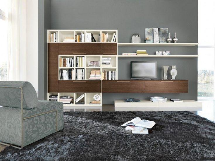 graue Wandfarbe und Wohnwand in Ecru und Walnuss Holzdekor