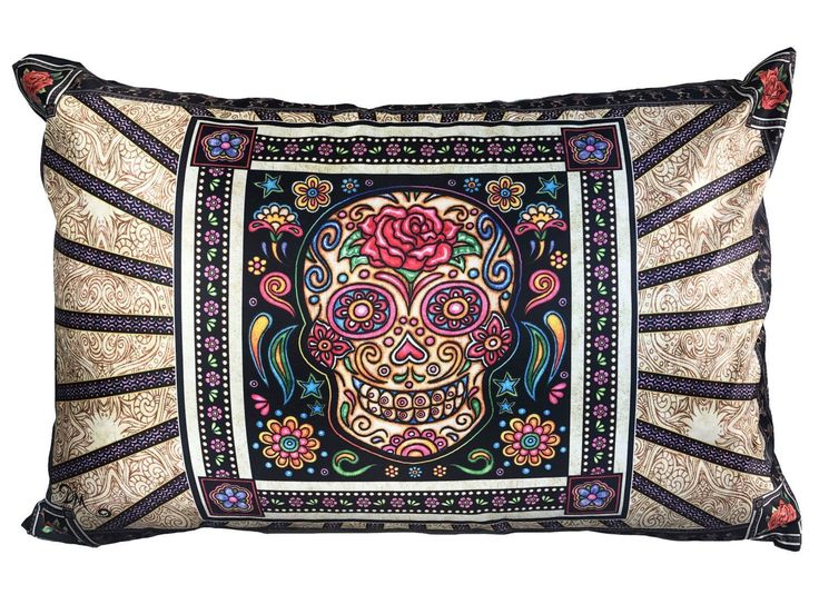 """Sugar Skull Rosey Pillow Case Dan Morris. Beautiful full color artwork on cool satin fabric pillow case featuring the original artwork of artist, Dan Morris. Coordinates with other products available through Dan Morris Design, including accent pillows, tapestries, decals and prints. 20""""x30"""" Fits both Standard and Queen size Pillows - not included 2 Sided Design -Design on both sides. Pillow Case with hidden zipper enclosure. Exclusive copyrighted designs by Dan Morris Hand Wash Cold Water."""